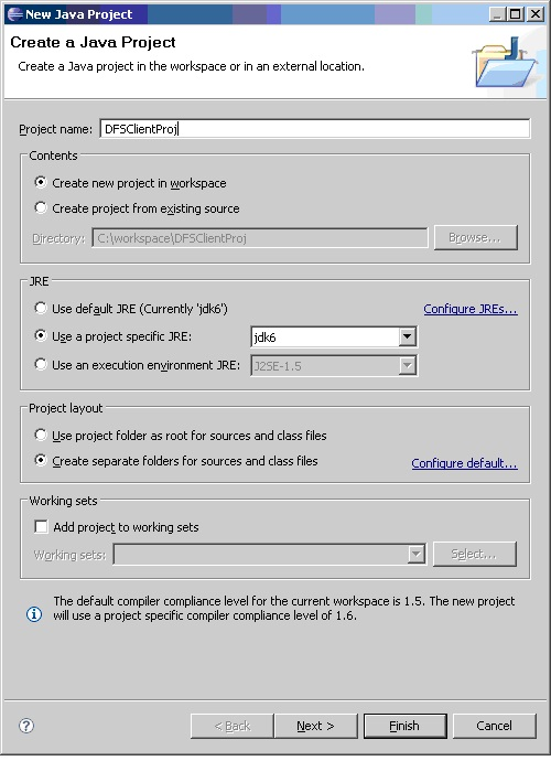 Creating a java project